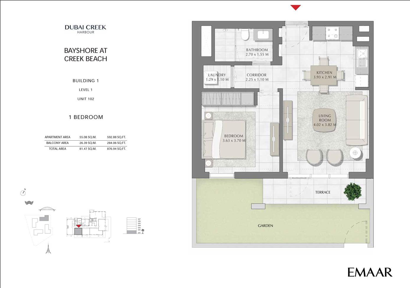 Building 1 - 1 Bedroom Level 1 Unit 102, Size 876 sq ft