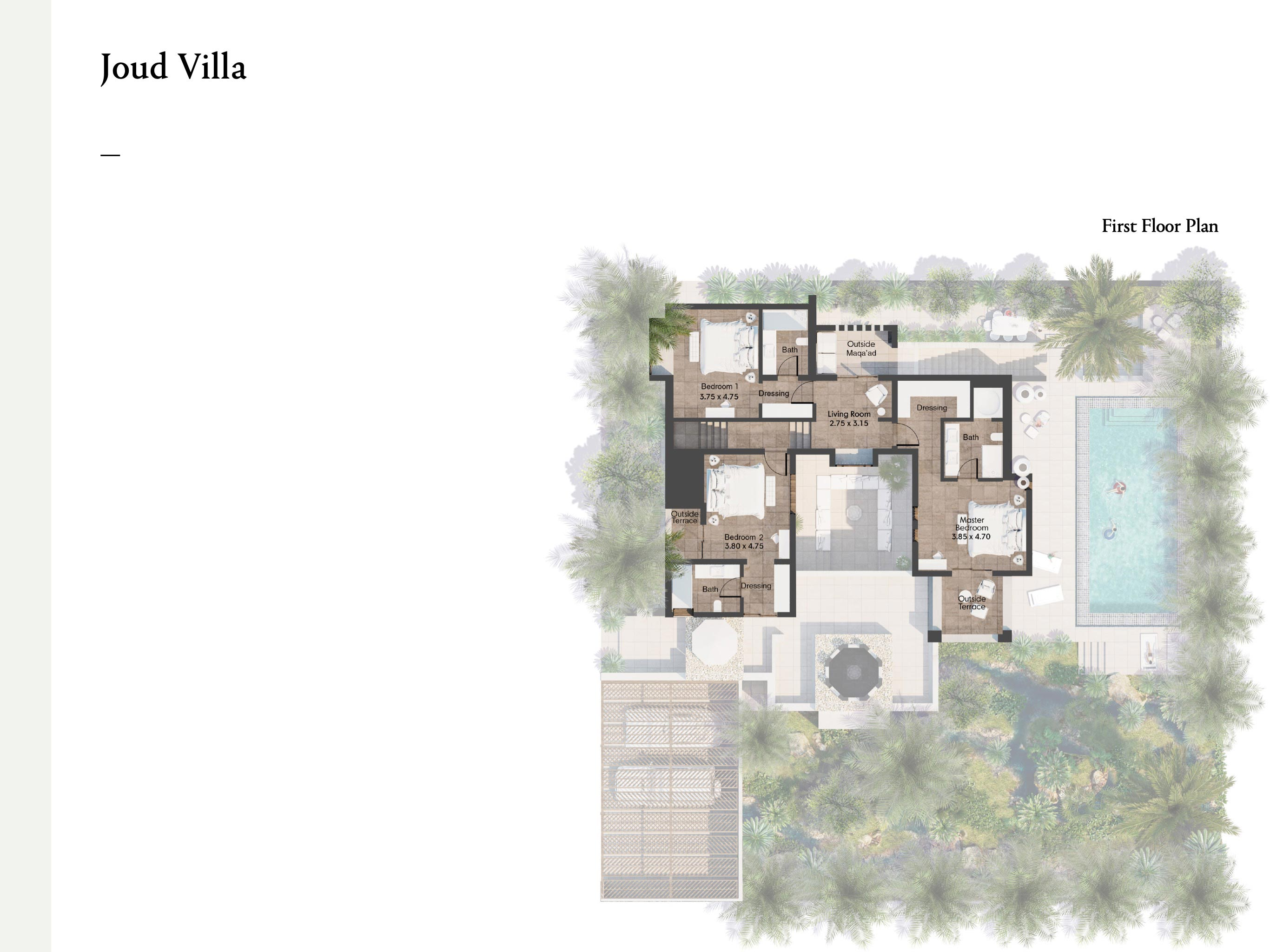 3 Bedroom Joud Villas  Size 422 sqm