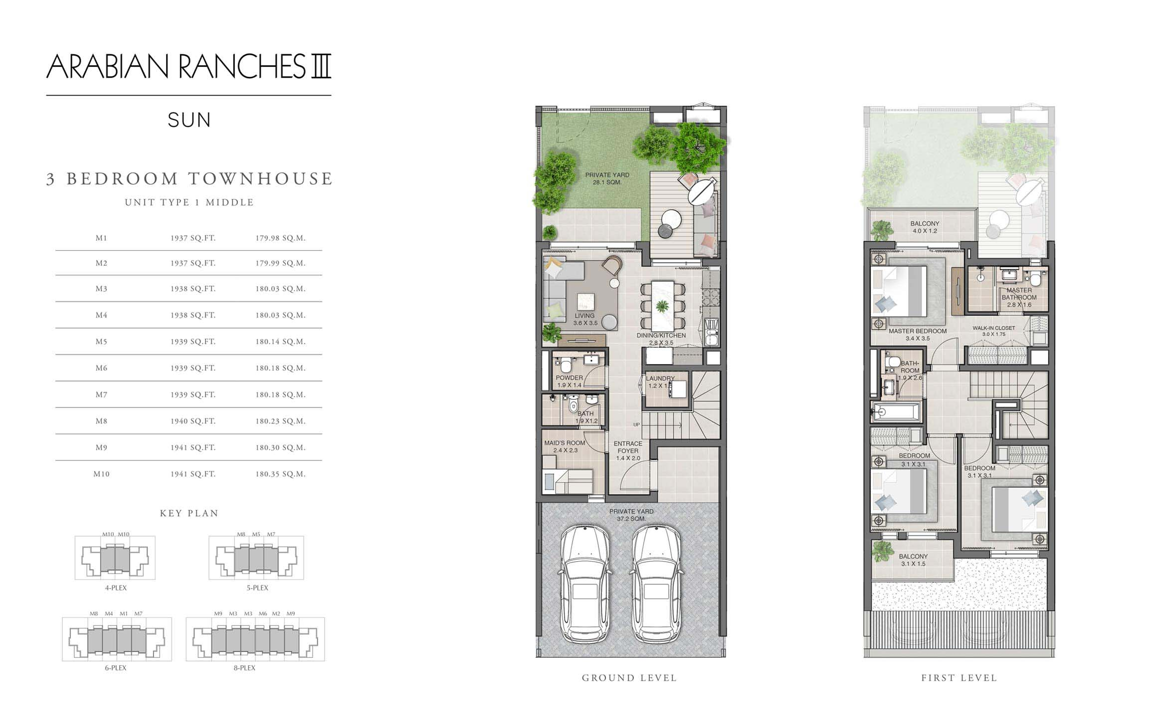 3 Bedroom Unit Type 1 Middle Size 1937 - 1941 sq ft