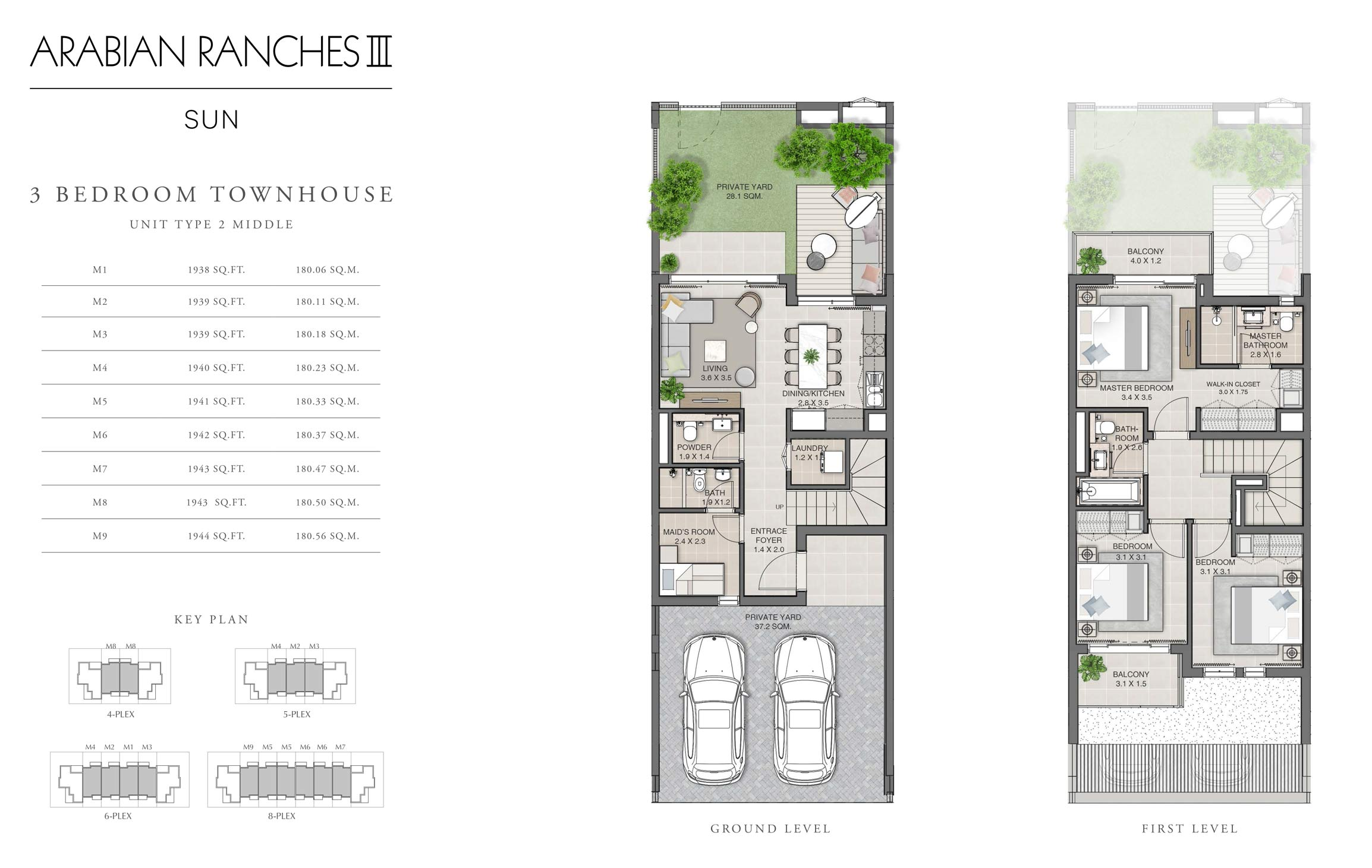 3 Bedroom Unit Type 2 Middle Size 1938-1944 sq ft