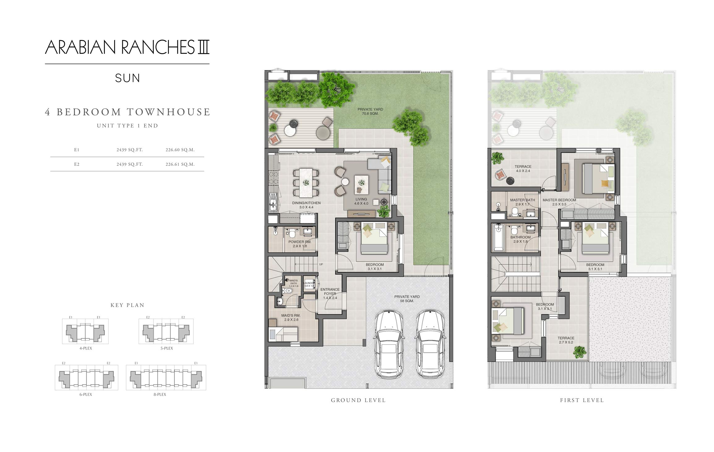 4 Bedroom Unit Type 1 End Size 2439 sq ft
