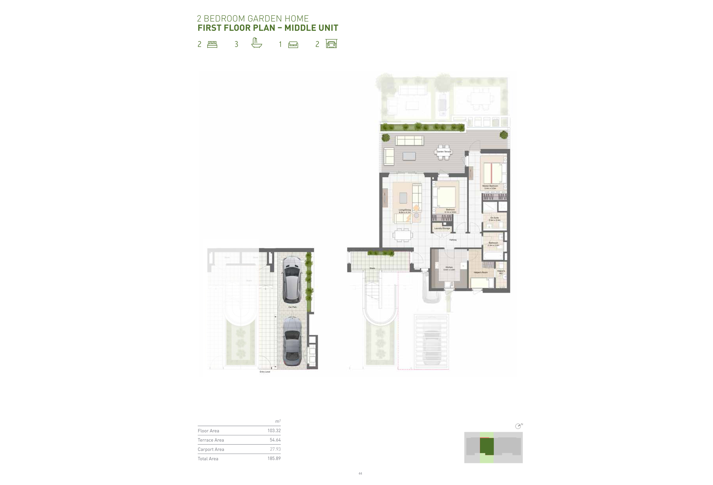 2 Bedroom Garden Home - First Floor - Middle Unit Size 185 Sqm