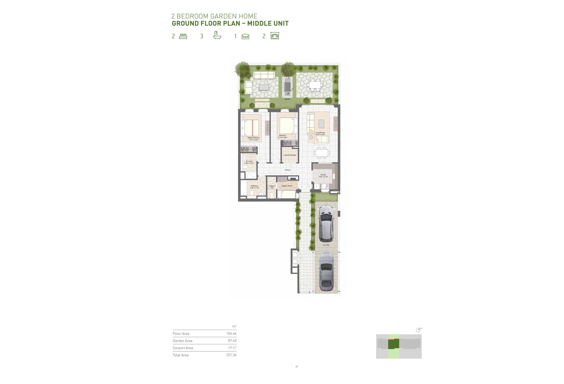 2 Bedroom Garden Home - Ground Floor - Middle Unit  Size 221 Sqm