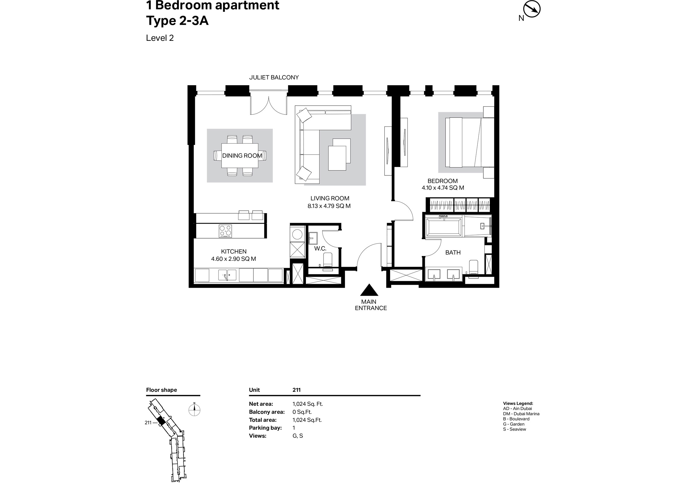 Building 2 - 1 Bedroom Type 2-3A Size 1024 sq ft