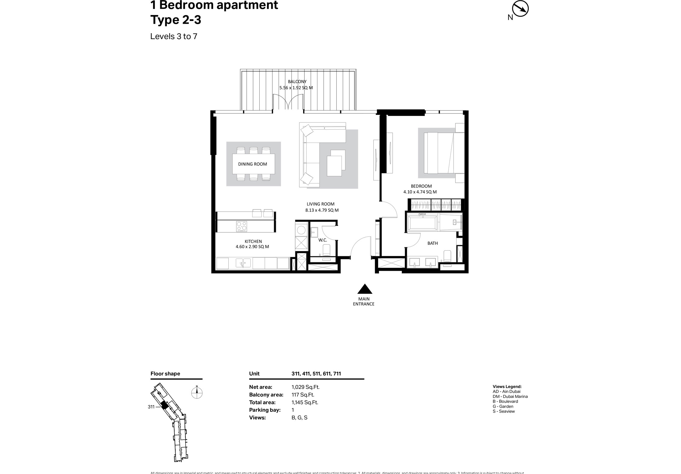 Building 2 - 1 Bedroom Type 2-3 Level 3-7 Size 1145 sq ft