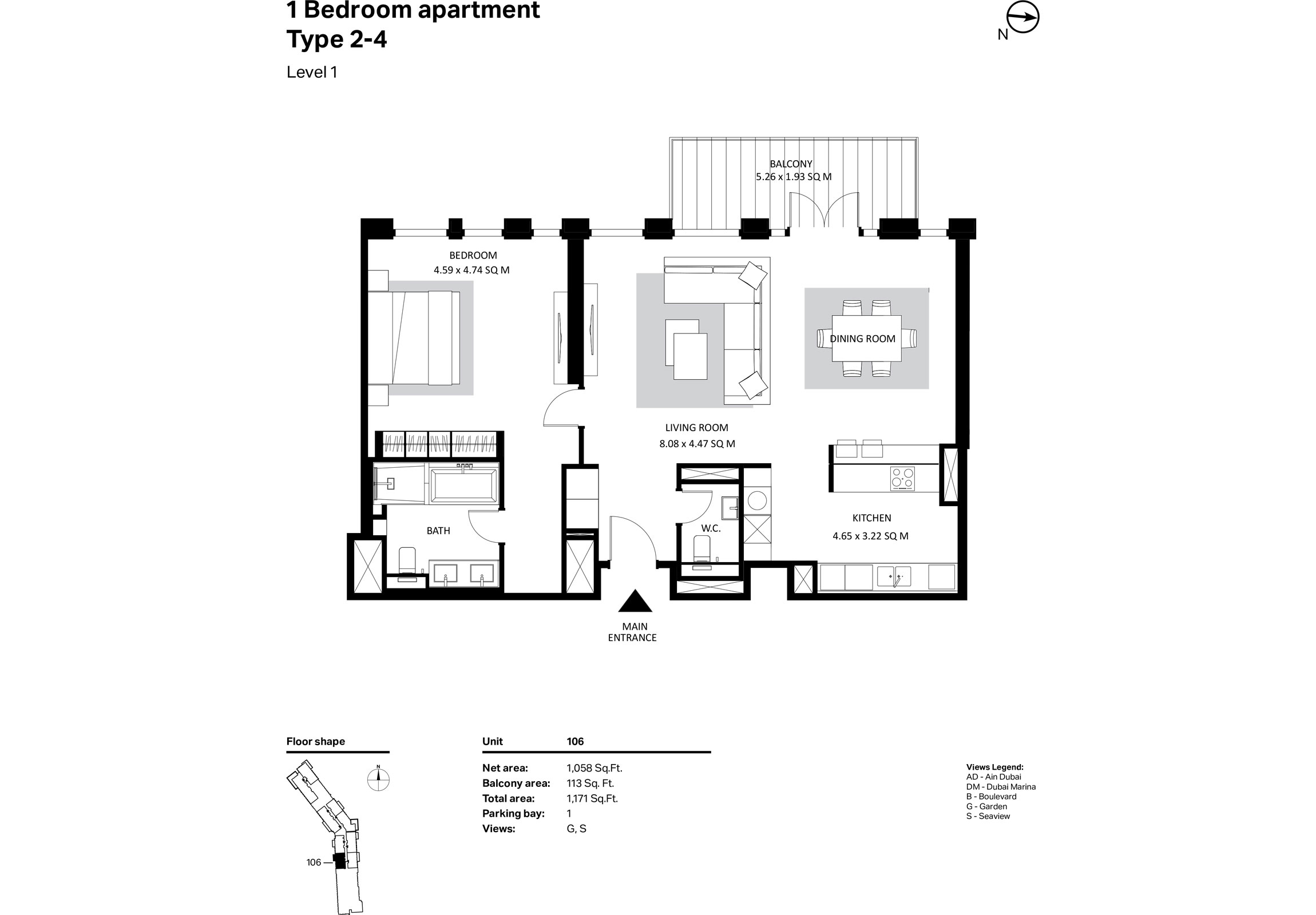 Building 2 - 1 Bedroom Type 2-4 Level 1 Size 1058 sq ft