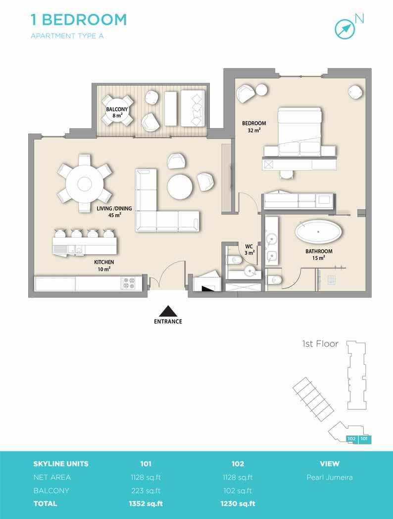 1 bedroom type A 1352