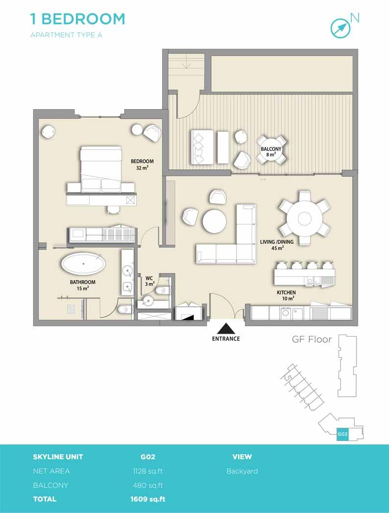 1 bedroom type A 1609