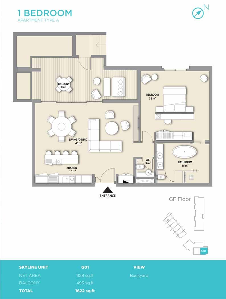 1 bedroom type A 1622
