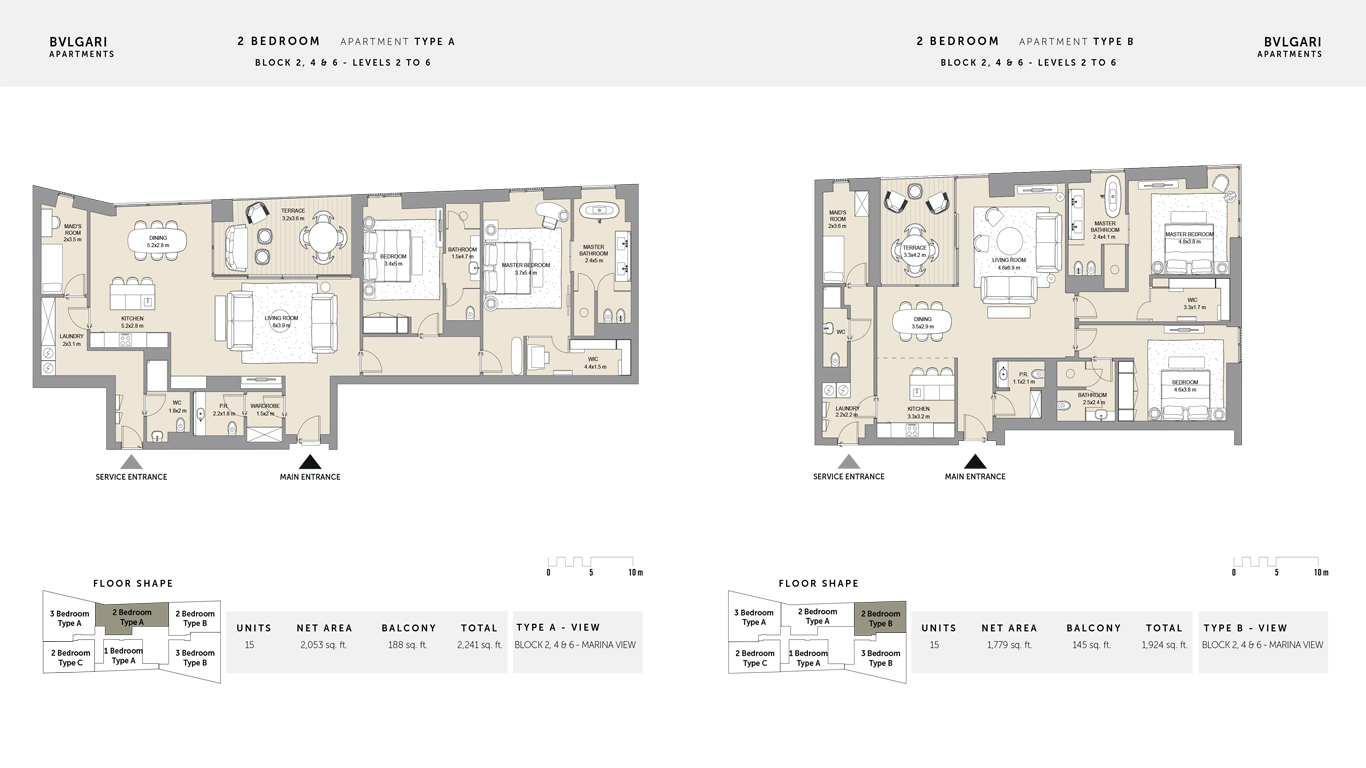 2 bedroom Type A Levels 2 to 6 , Size 2241 Sq Ft