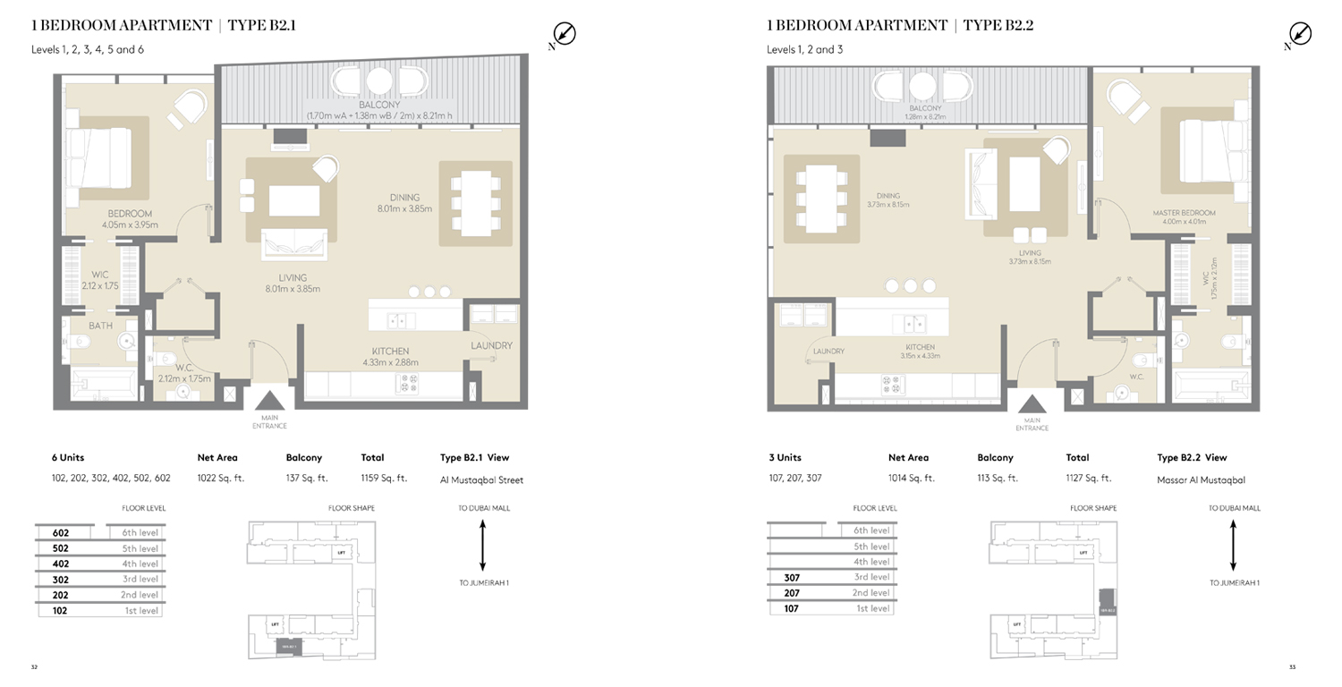 1 Bedroom Apartment Type B 2.1, 2.2, Size 1159 Sq ft