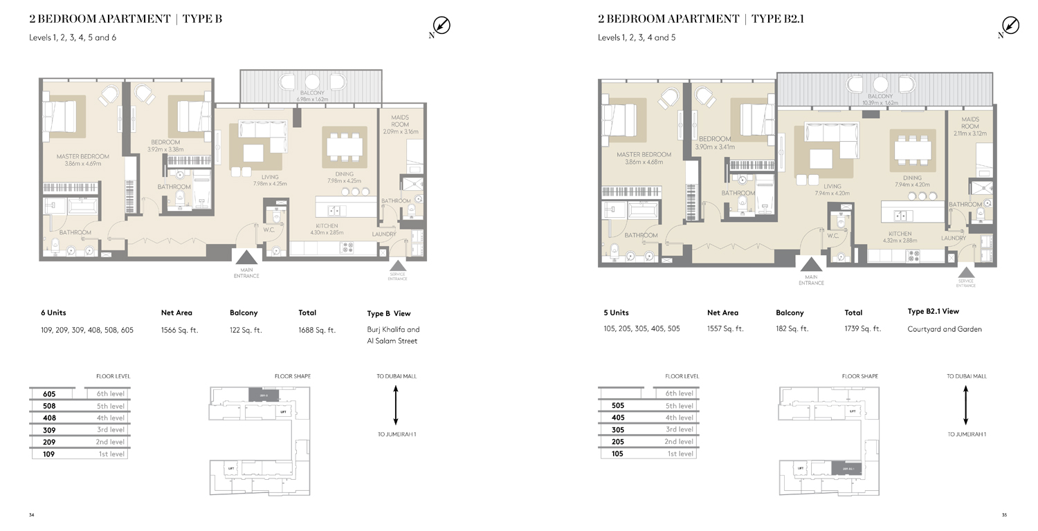 2 Bedroom Apartment Type B 2.1, Size 1159 Sq ft