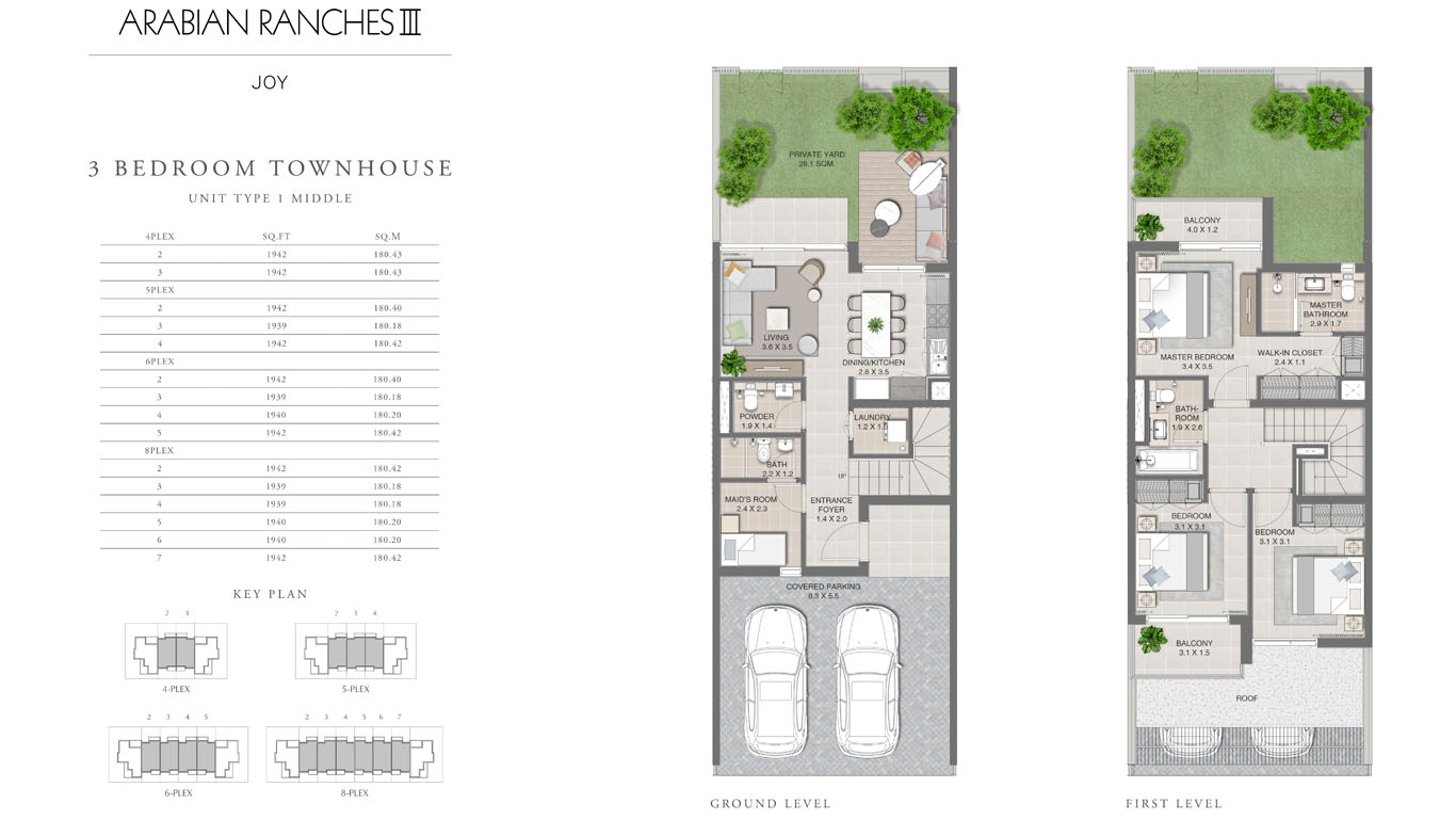 3 Bedroom Townhouses Unit Type 1, Size 1942 Sq Ft