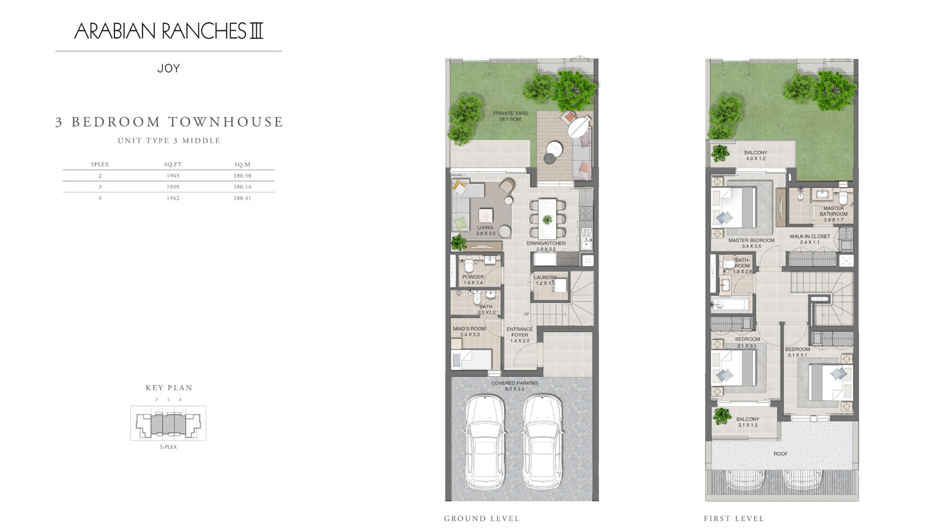 3 Bedroom Townhouses Unit Type 3, Size 1939 Sq Ft