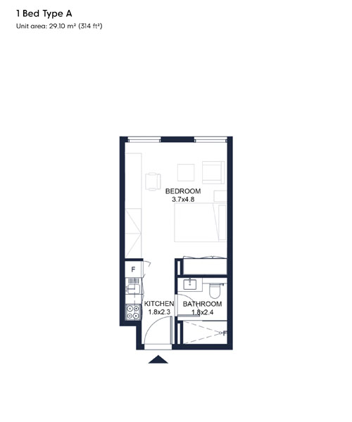 1 Bed Type A, Size 314 Sqft