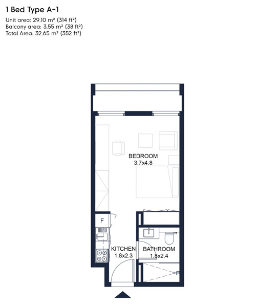 1 Bed Type A-1, Size 352 Sqft