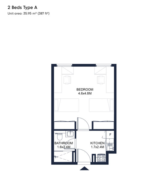 2 Bed Type A, Size 387 Sqft