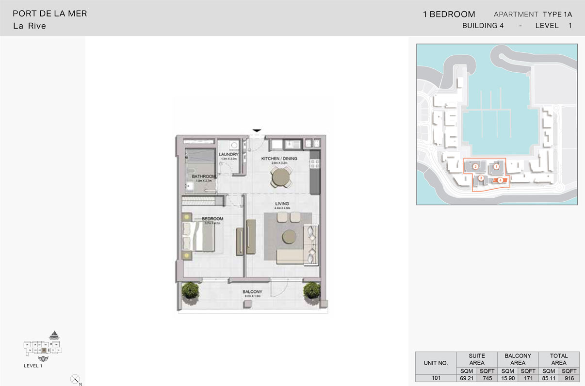 1 Bedroom - Type 1A, Level-1, Size - 916 Sq Ft
