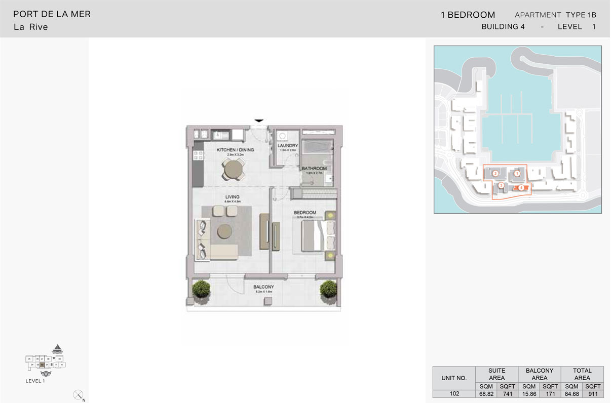 1 Bedroom - Type 1B, Level-1, Size - 911 Sq Ft