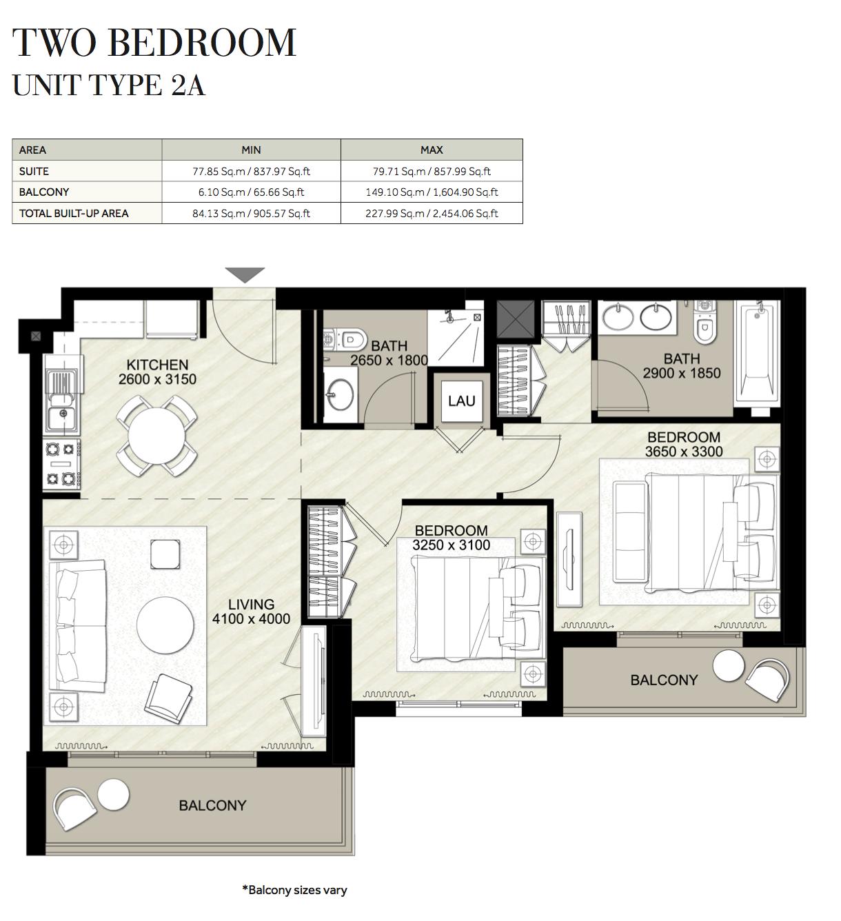 2 Bedroom-UT-2A