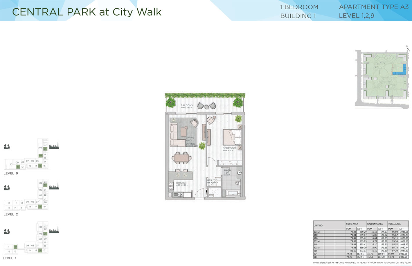 1 Bedroom Building 1 Level 1-2-9 Type A3 Size 1020 -1047 sqft