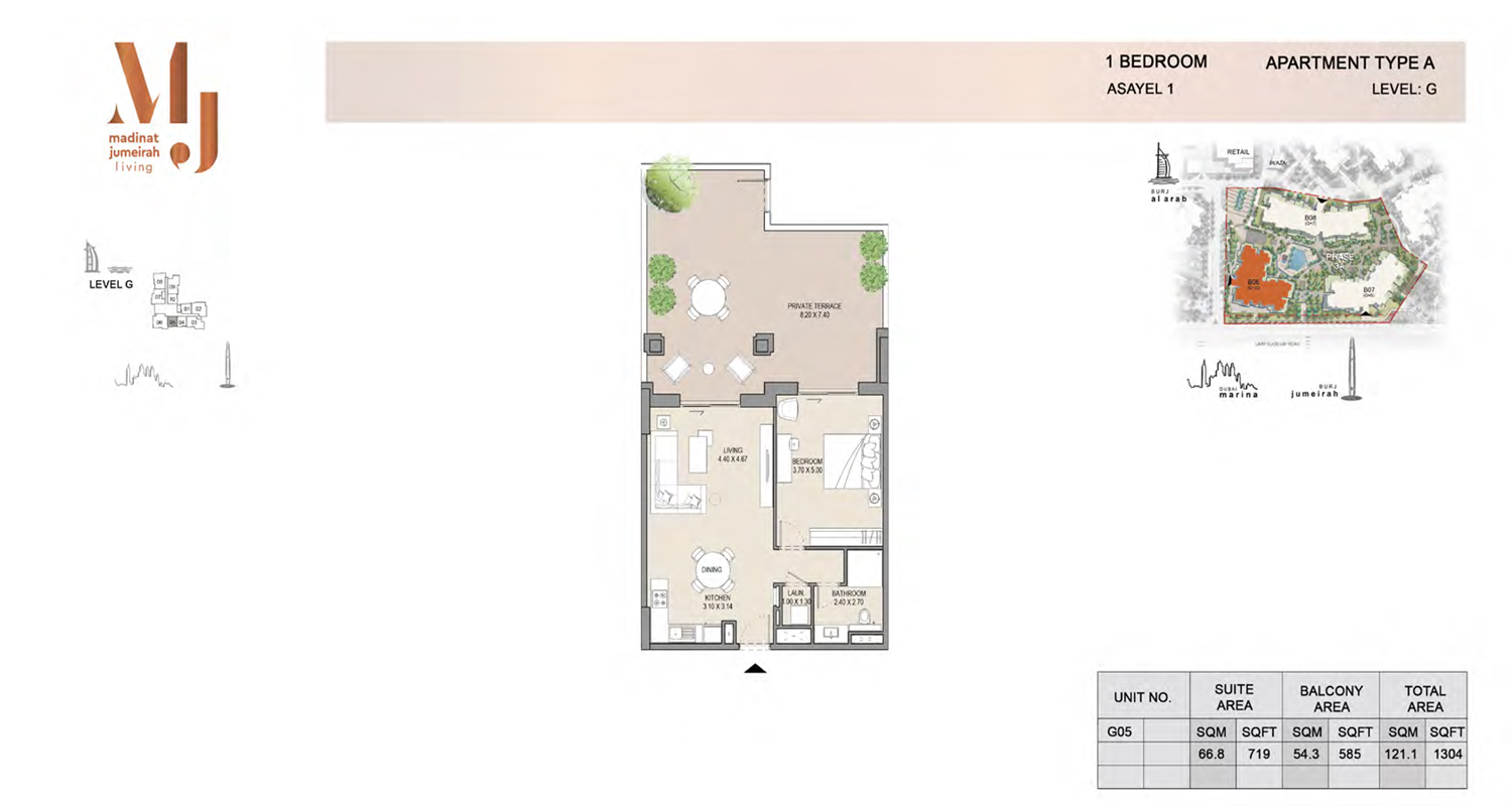 1 Bedroom Type A, Level G, Size 1304 Sq Ft