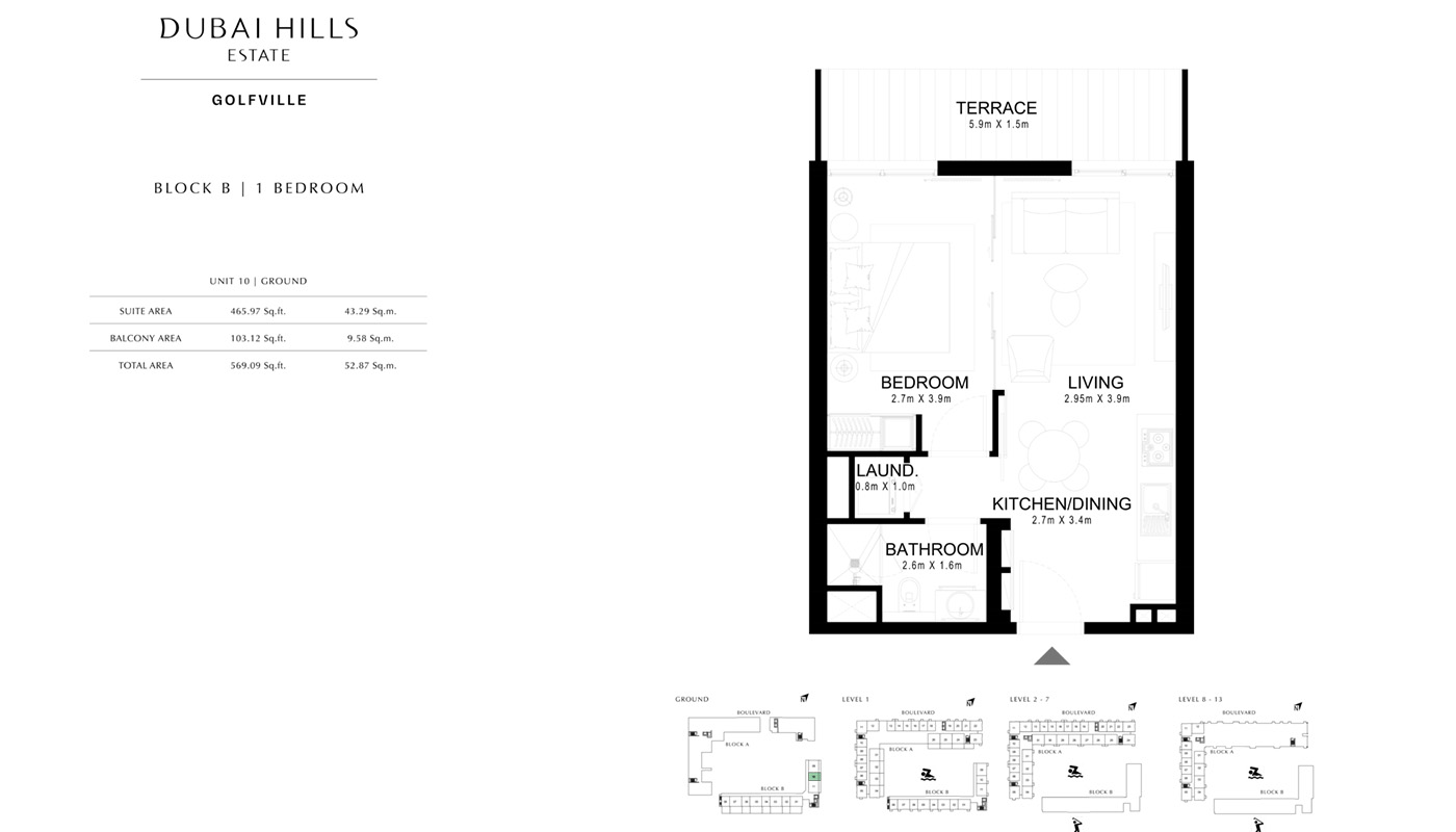 1 Bedroom Block B, Size 465 Sq Ft