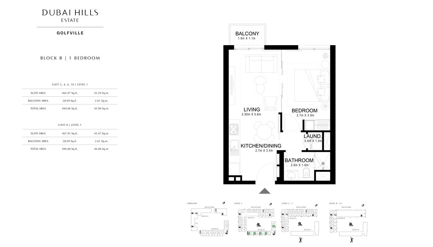 1 Bedroom Block B, Size 496 Sq Ft