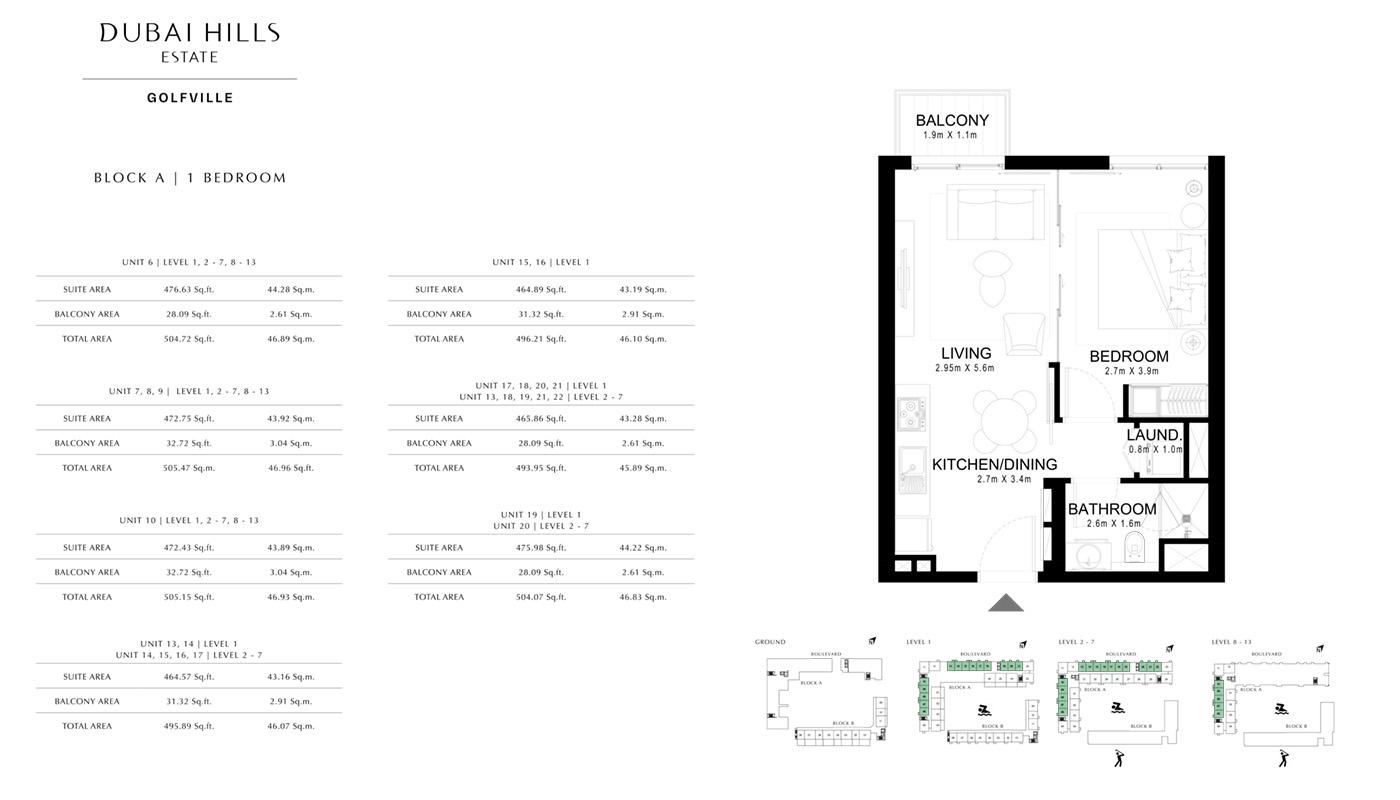 1 Bedroom Block A, Size 495 Sq Ft
