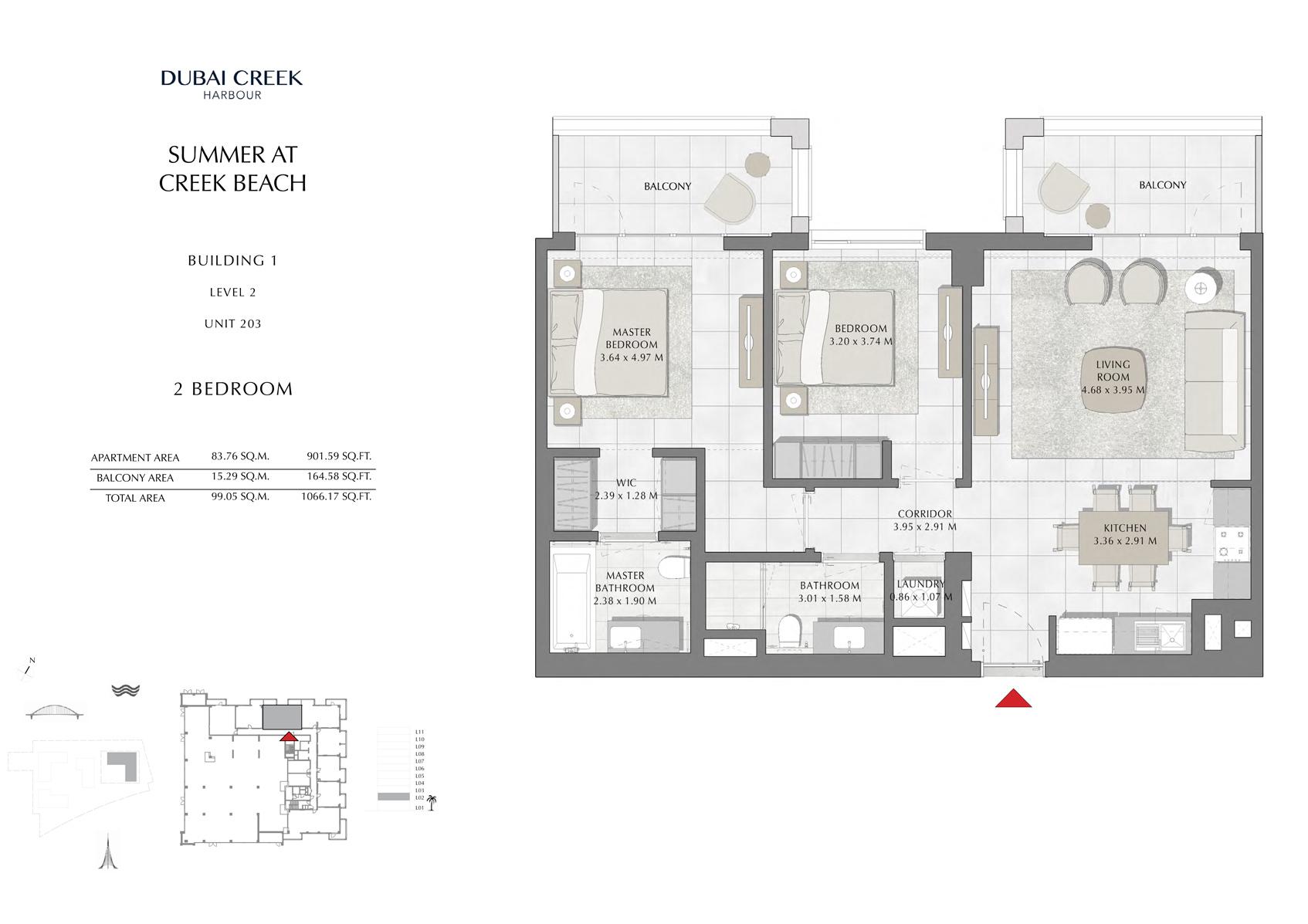 1 Br Building 1 Level 2 Unit 203, Size 1066 Sq Ft