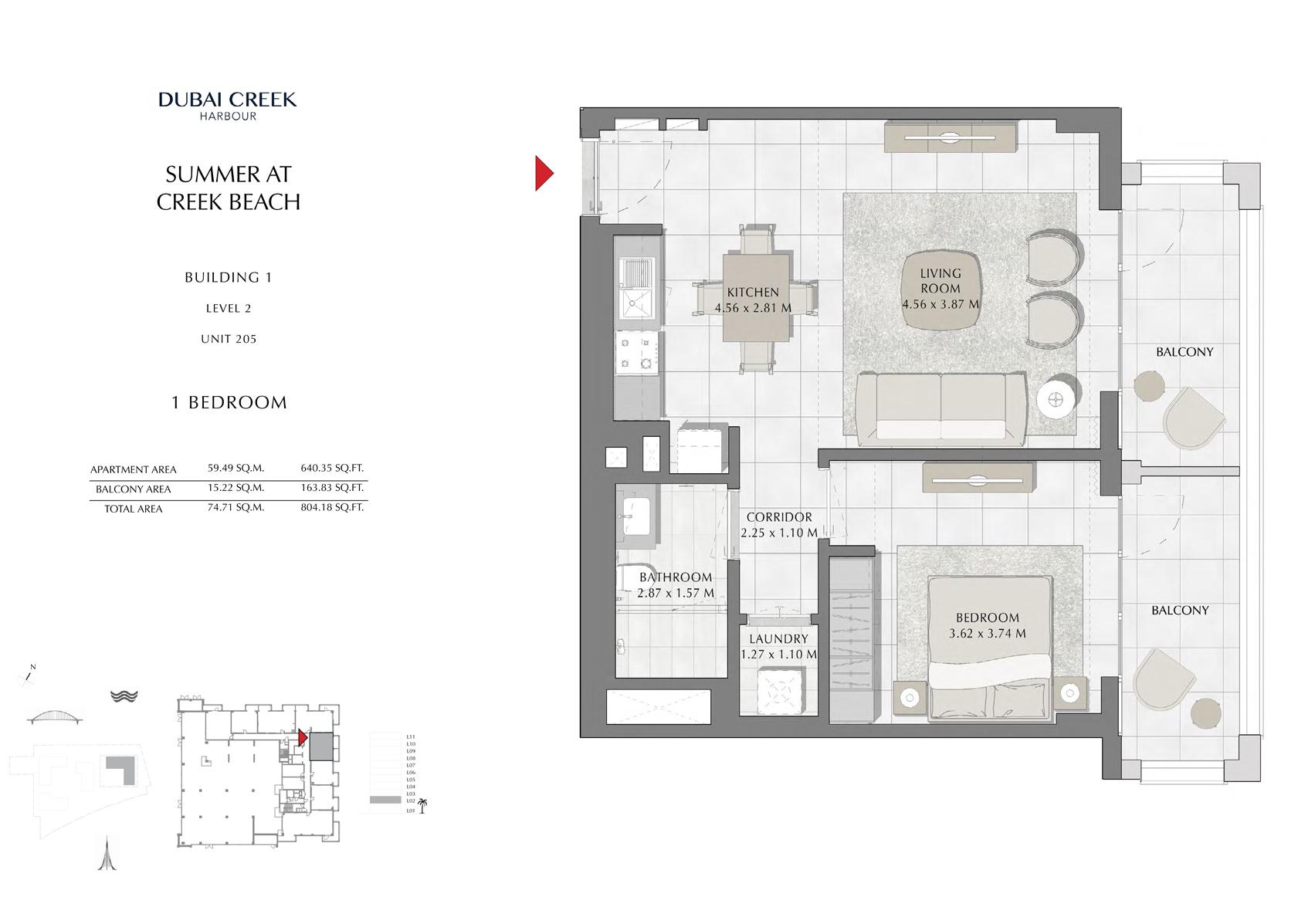 1 Br Building 1 Level 2 Unit 205, Size 804 Sq Ft