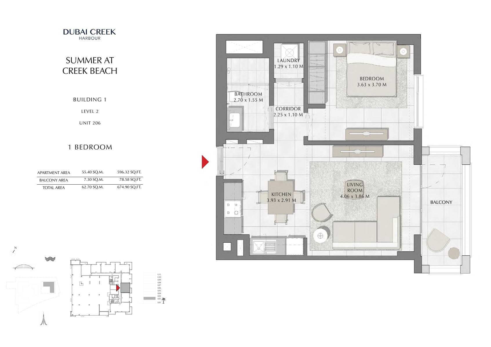 1 Br Building 1 Level 2 Unit 206, Size 674 Sq Ft