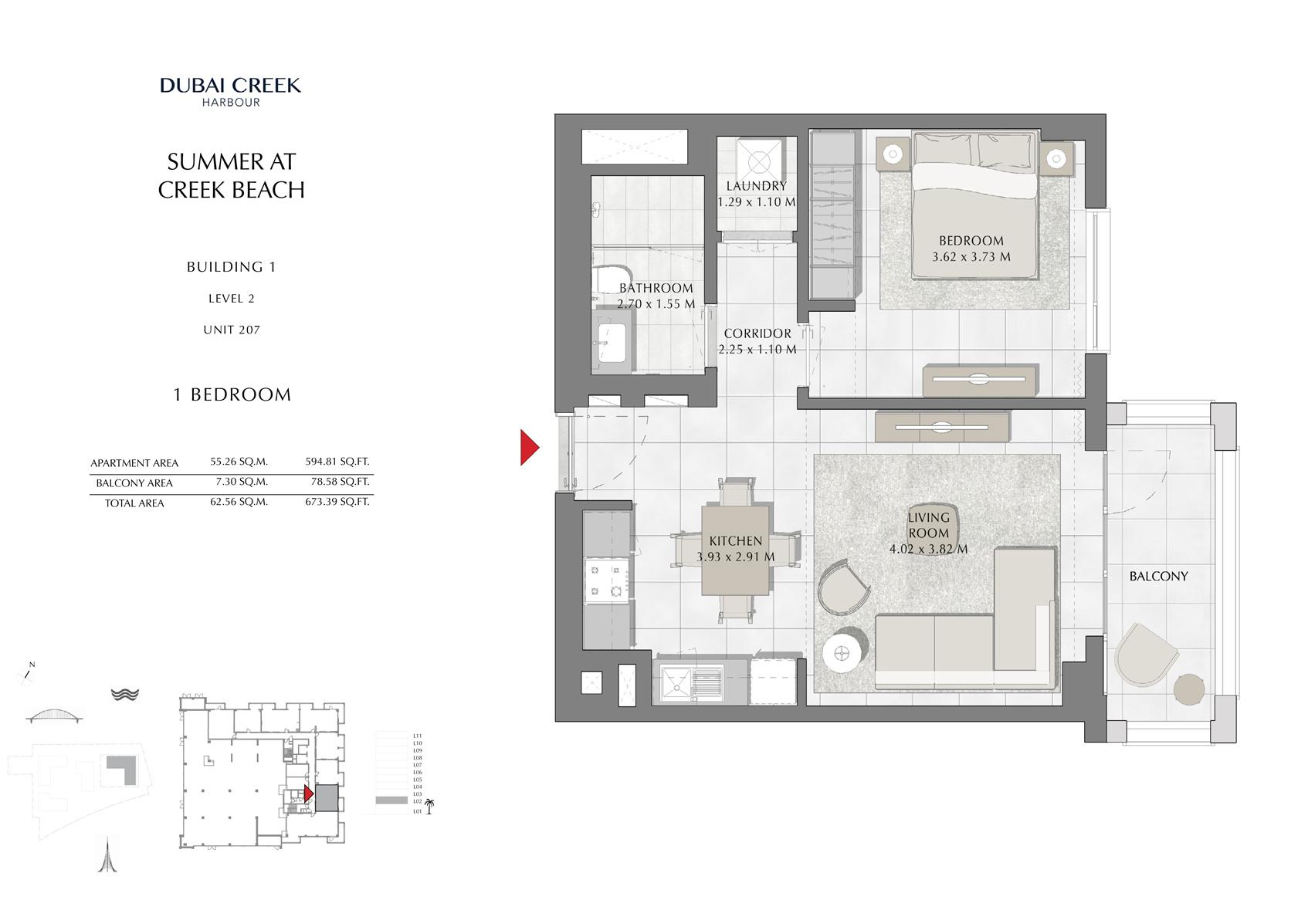 1 Br Building 1 Level 2 Unit 207, Size 673 Sq Ft