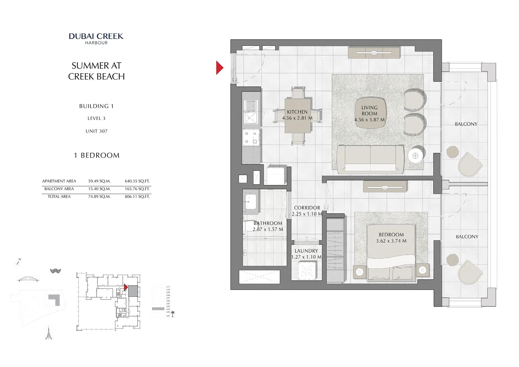 1 Br Building 1 Level 3 Unit 307, Size 806 Sq Ft