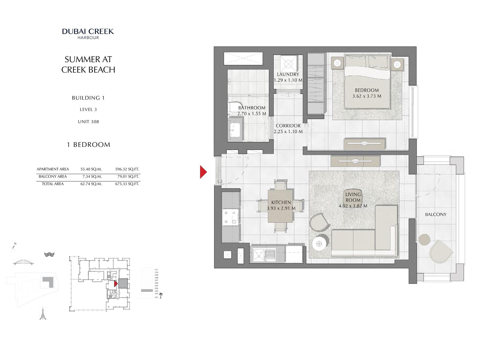 1 Br Building 1 Level 3 Unit 308, Size 675 Sq Ft