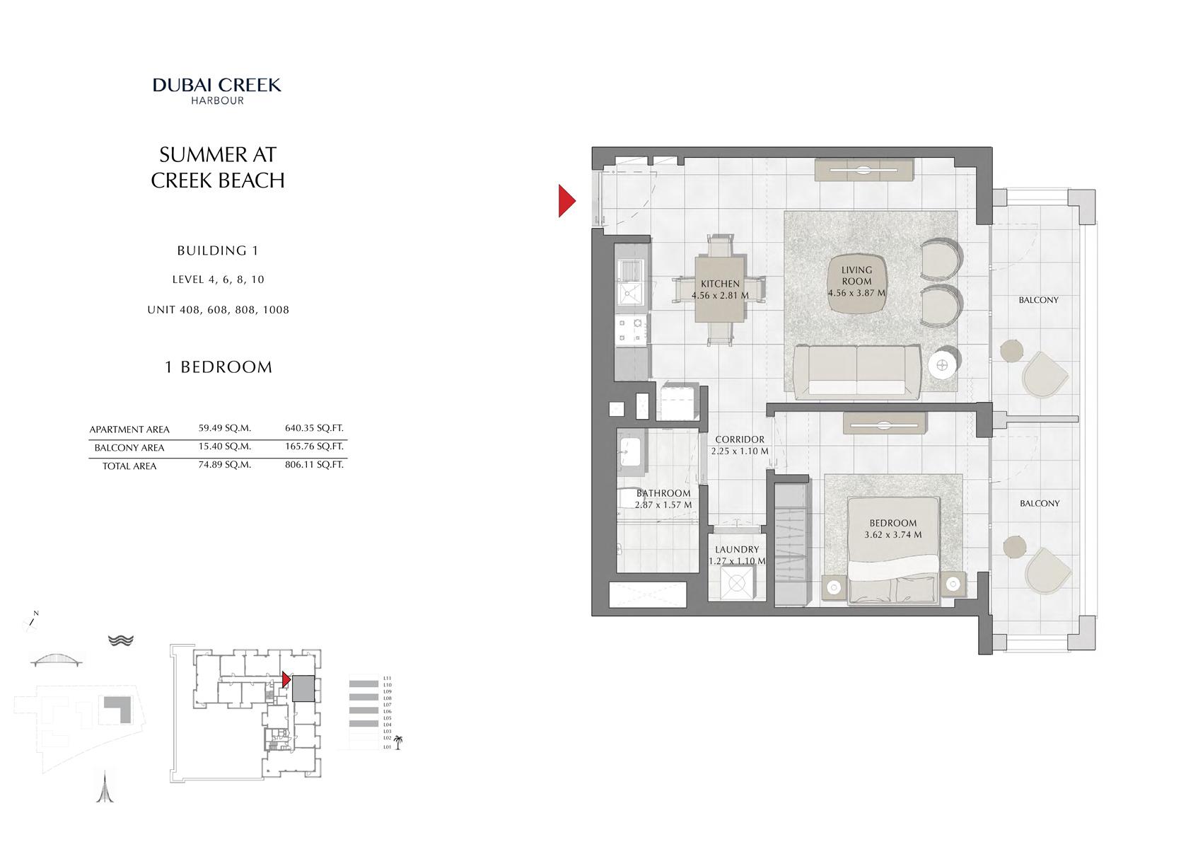 1 Br Building 1 Level-4-6-8-10 Unit 408-608-808-1008, Size 806 Sq Ft