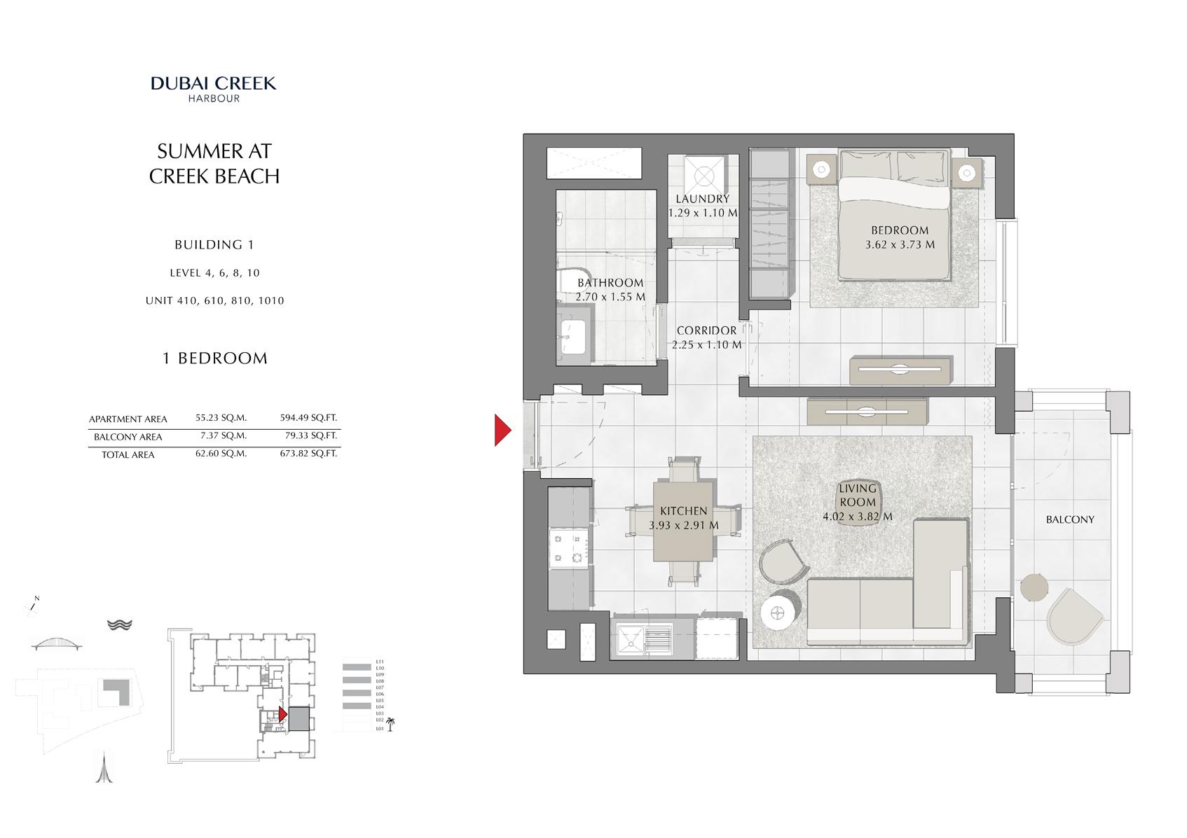 1 Br Building 1 Level-4-6-8-10 Unit 410-610-810-1010, Size 673 Sq Ft