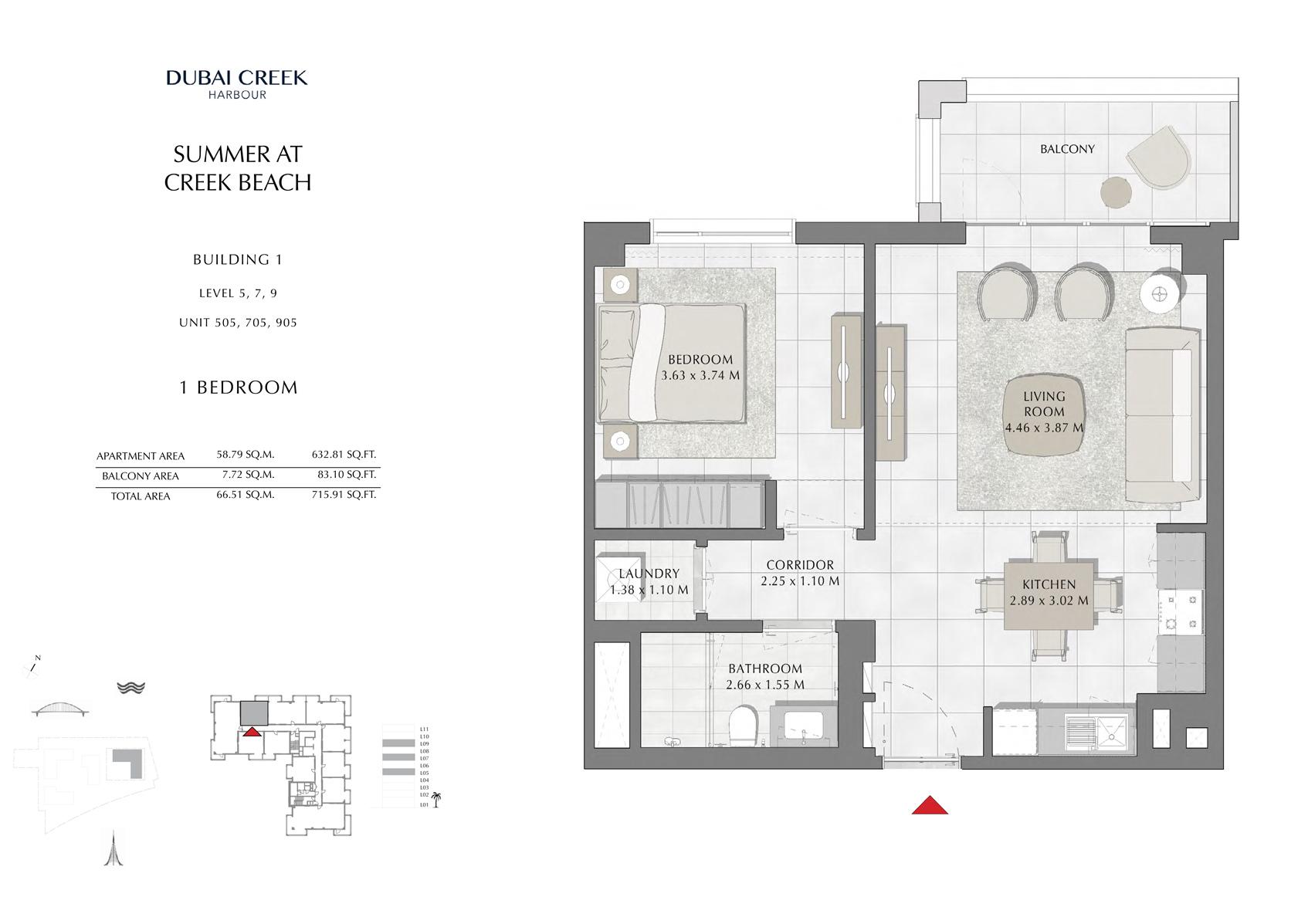 1 Br Building 1 Level-5-7-9 Unit 505-705-905, Size 715 Sq Ft