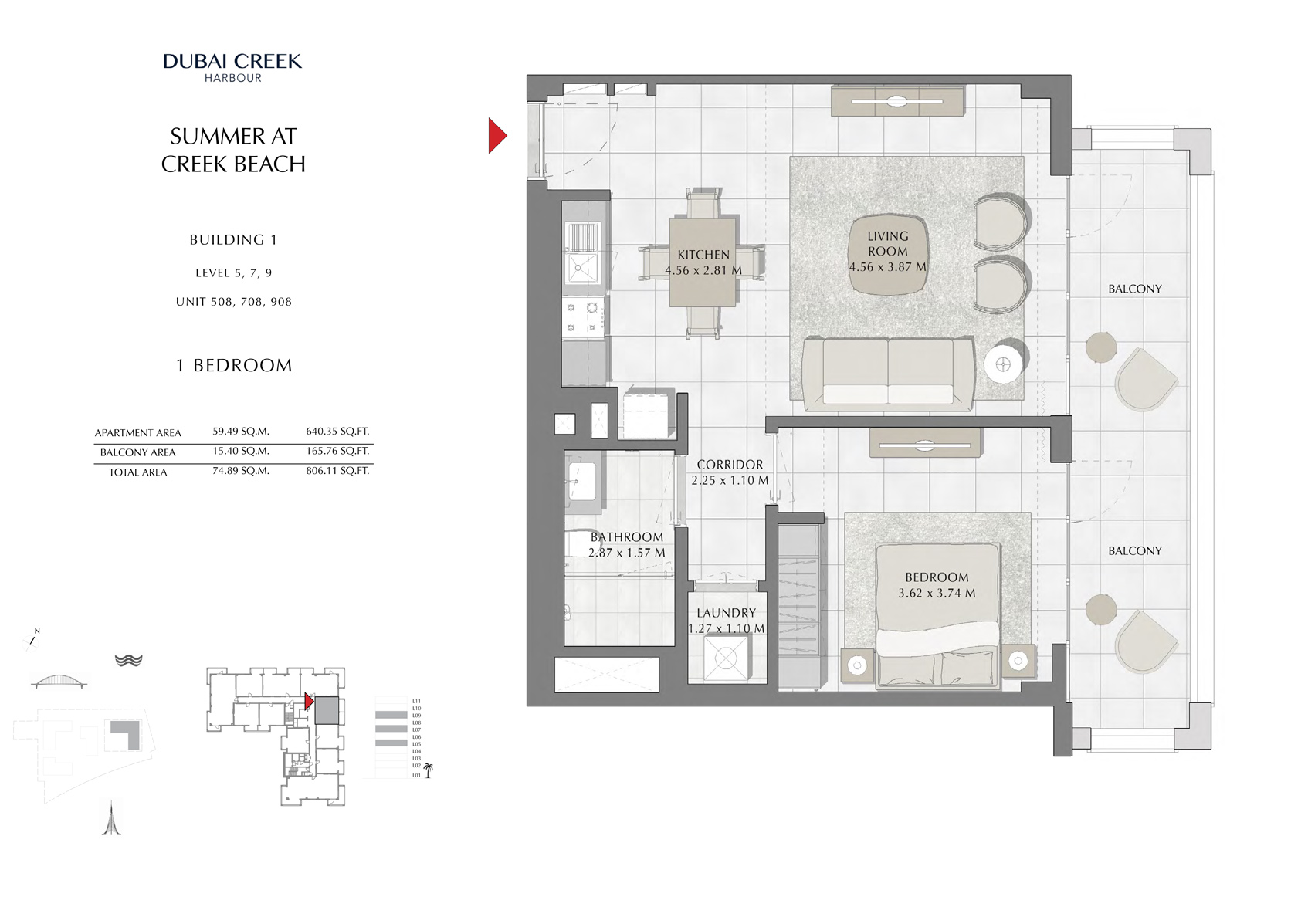 1 Br Building 1 Level-5-7-9 Unit 508-708-908, Size 806 Sq Ft