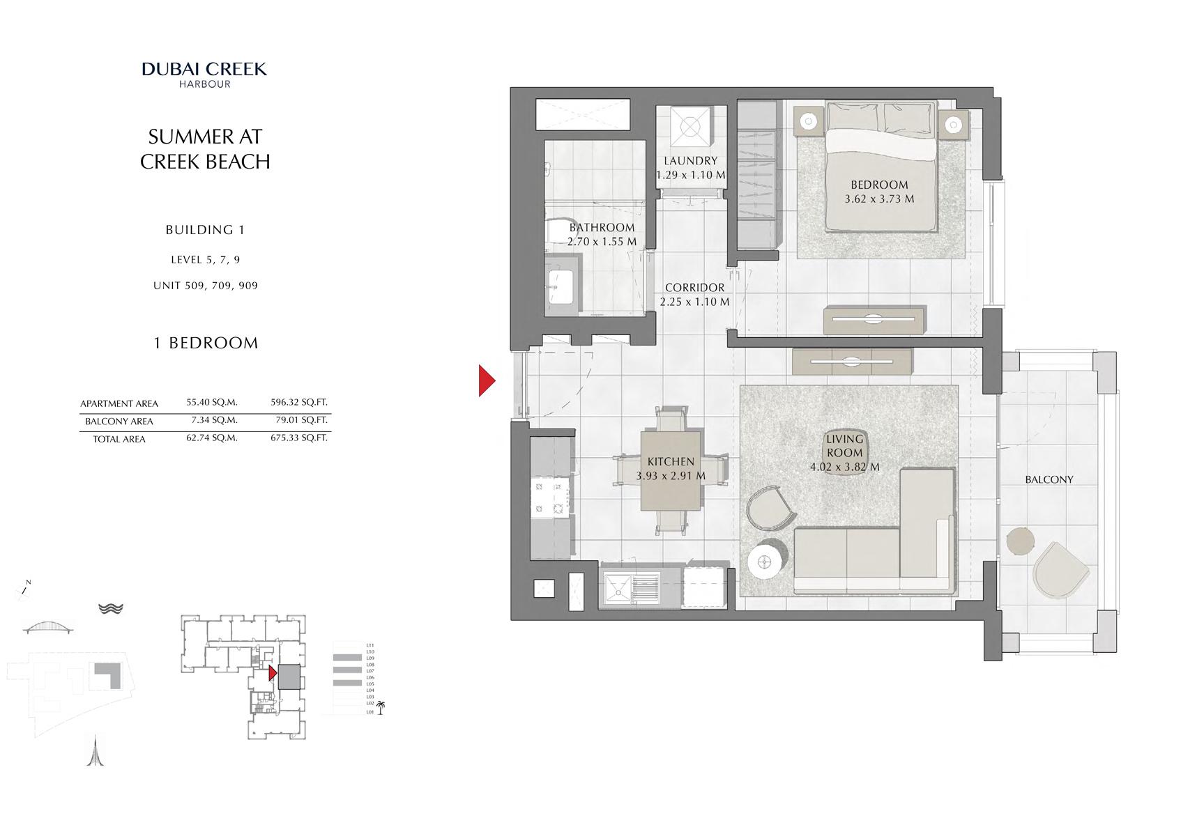 1 Br Building 1 Level-5-7-9 Unit 509-709-909, Size 675 Sq Ft
