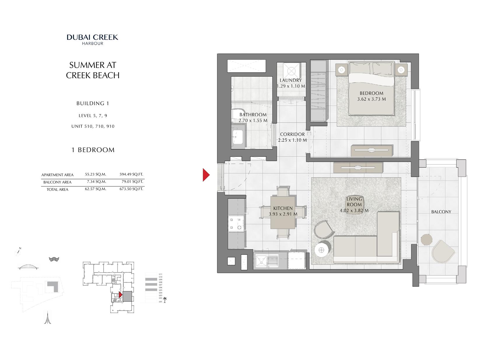 1 Br Building 1 Level-5-7-9 Unit 510-710-910, Size 673 Sq Ft