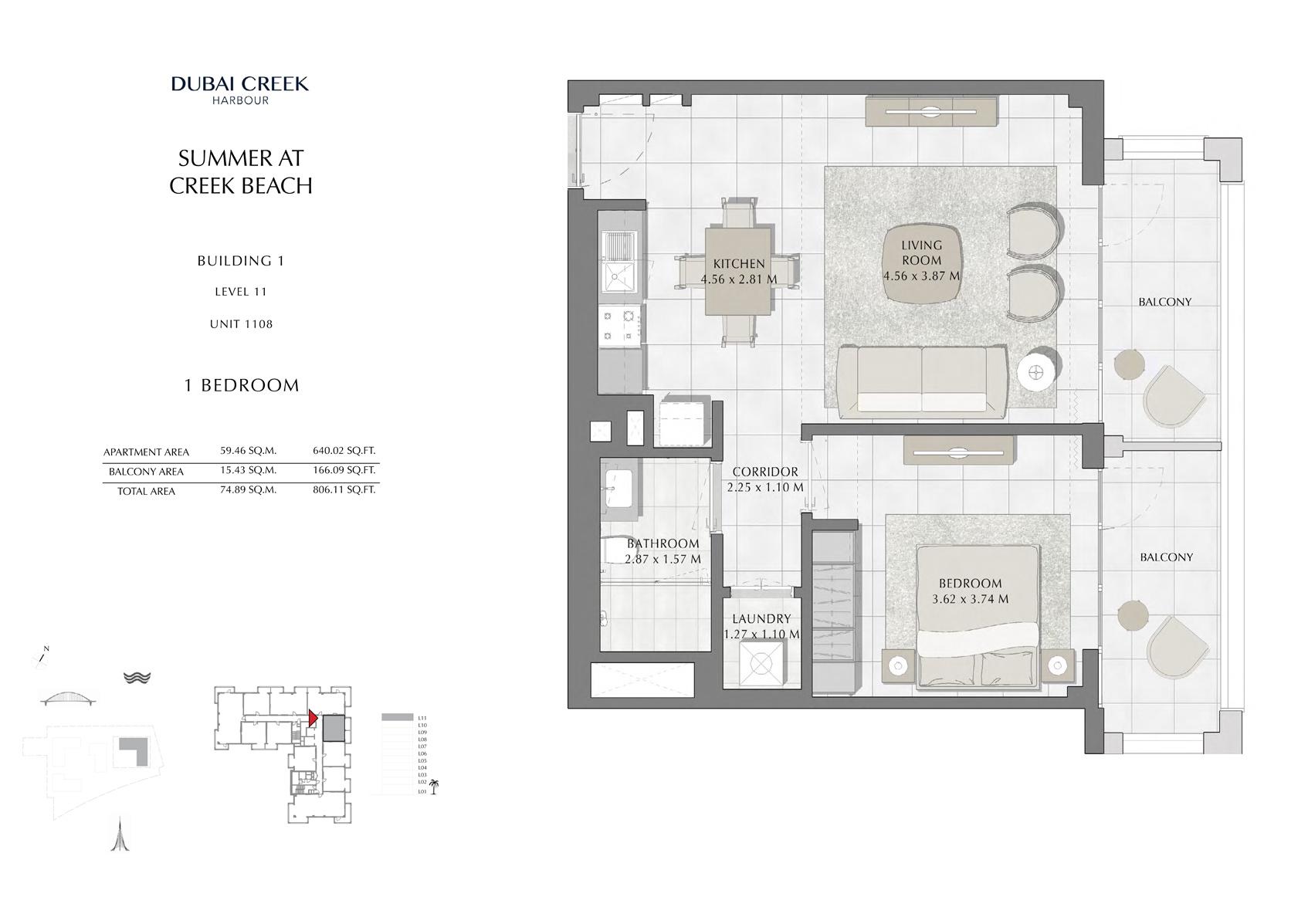 1 Br Building 1 Level 11 Unit 1108, Size 806 Sq Ft