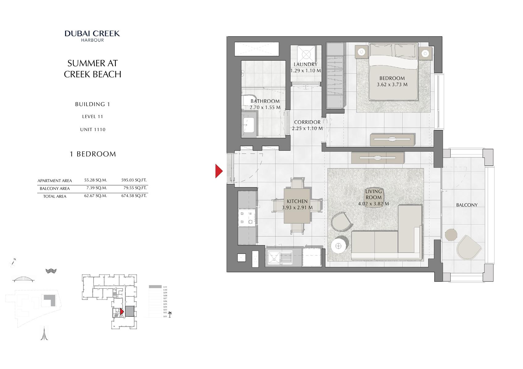 1 Br Building 1 Level 11 Unit 1110, Size 674 Sq Ft