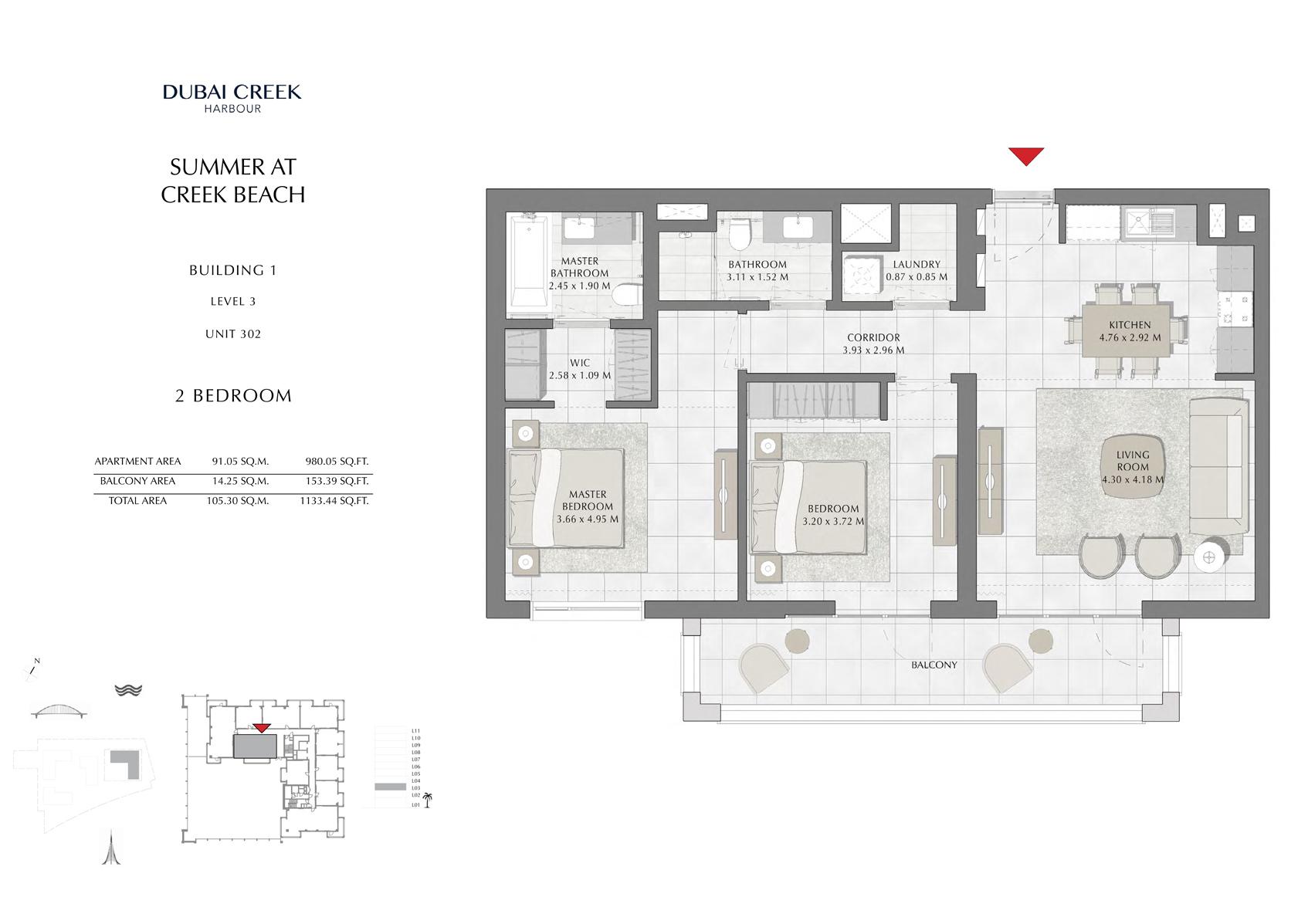 2 Br Building 1 Level 3 Unit 302, Size 1133 Sq Ft