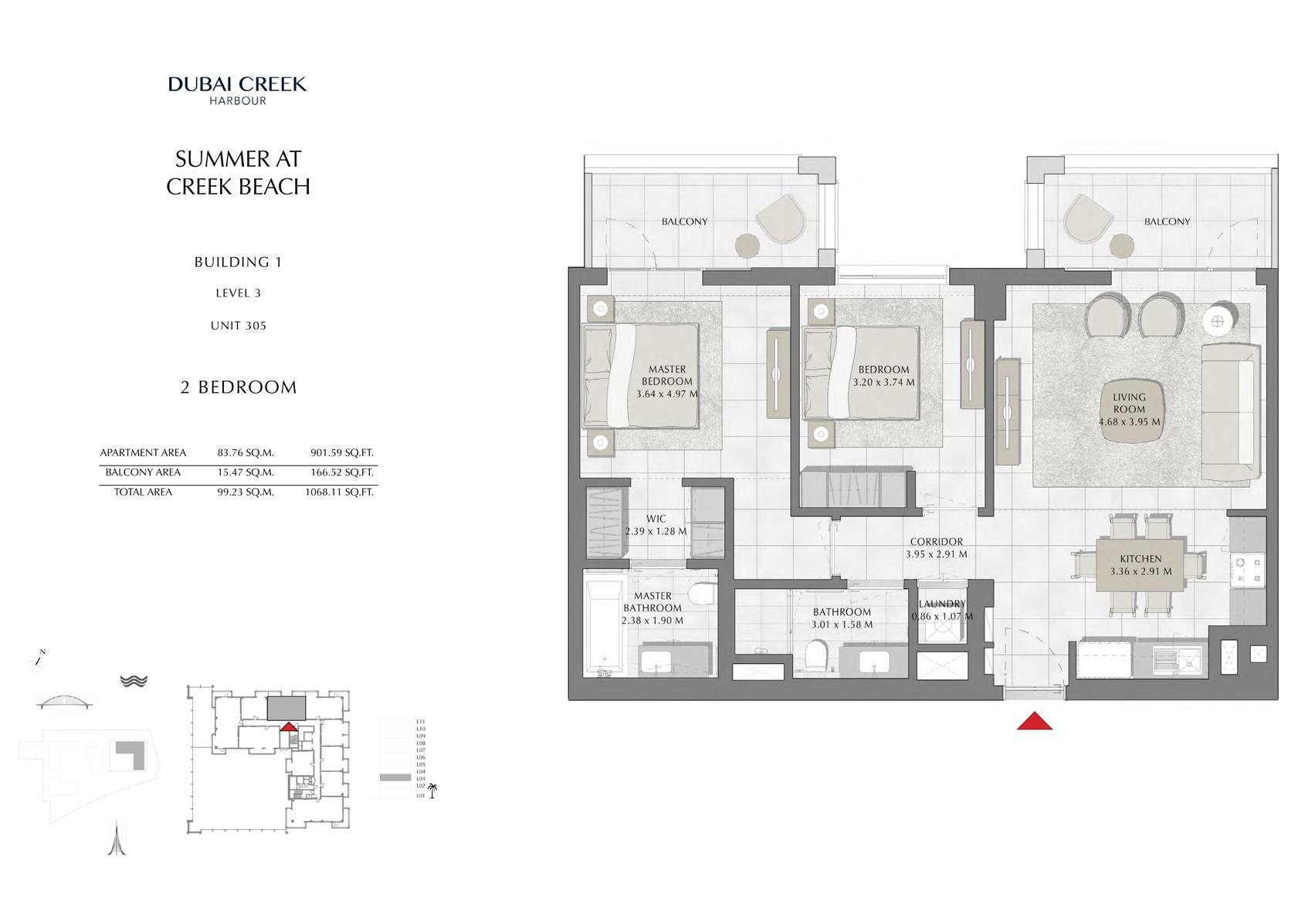 2 Br Building 1 Level 3 Unit 305, Size 1068 Sq Ft