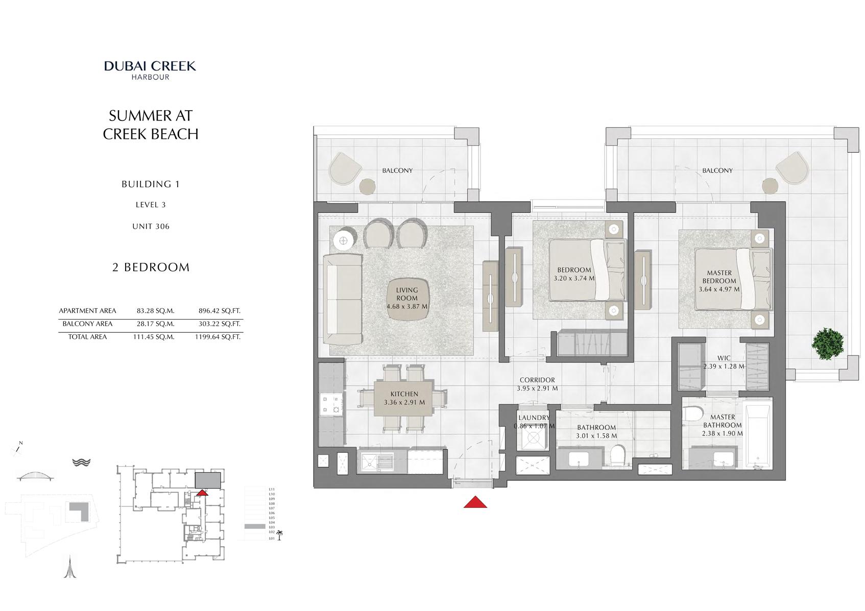 2 Br Building 1 Level 3 Unit 306, Size 1199 Sq Ft