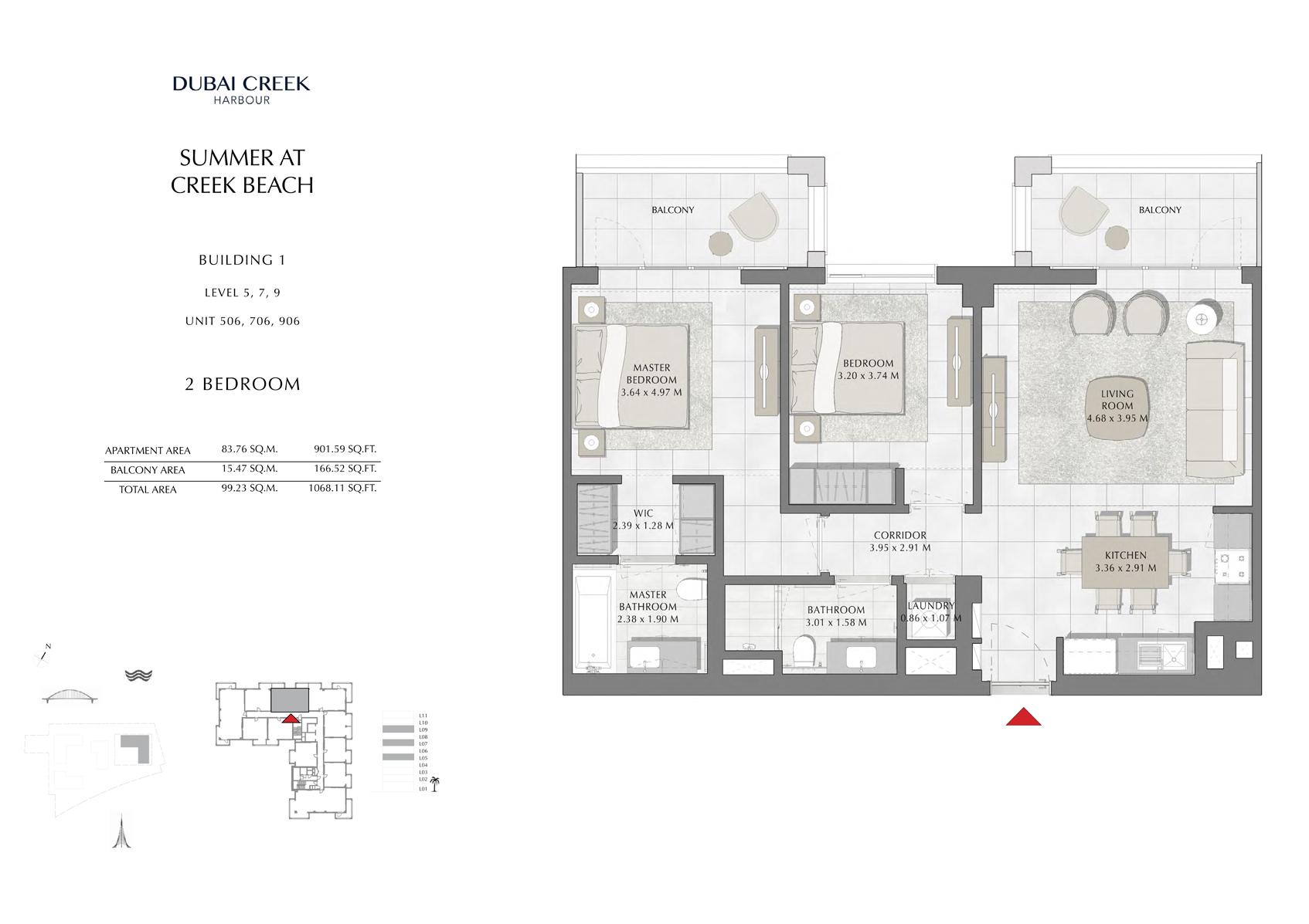 2 Br Building 1 Level-5-7-9 Unit 506-706-906, Size 1068 Sq Ft