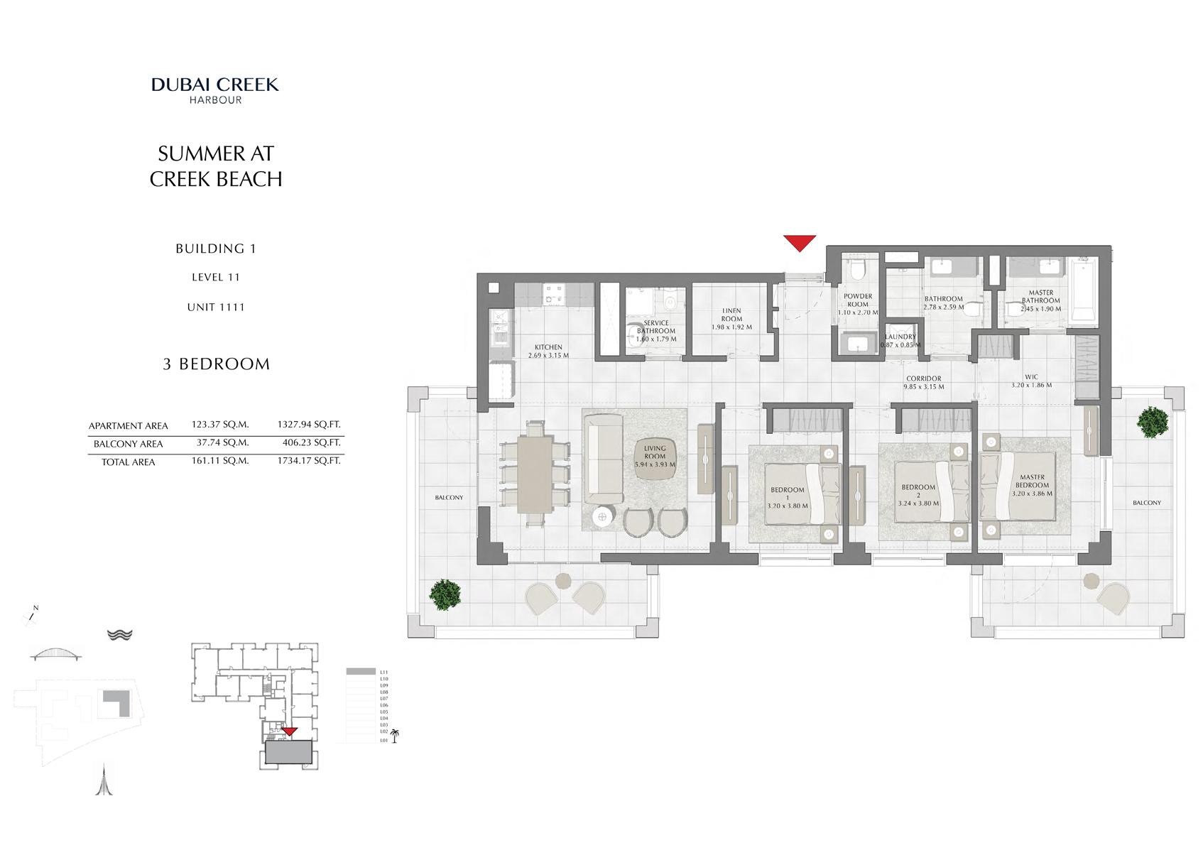 2 Br Building 1 Level 11 Unit 1111, Size 1734 Sq Ft