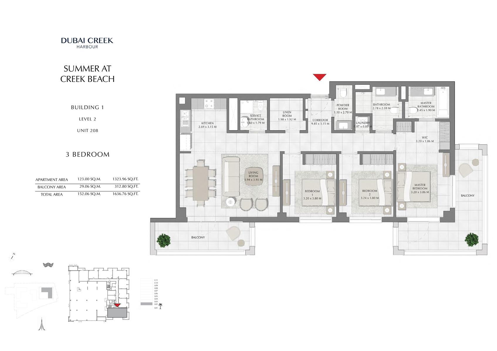 3 Br Building 1 Level 2 Unit 208, Size 1636 Sq Ft