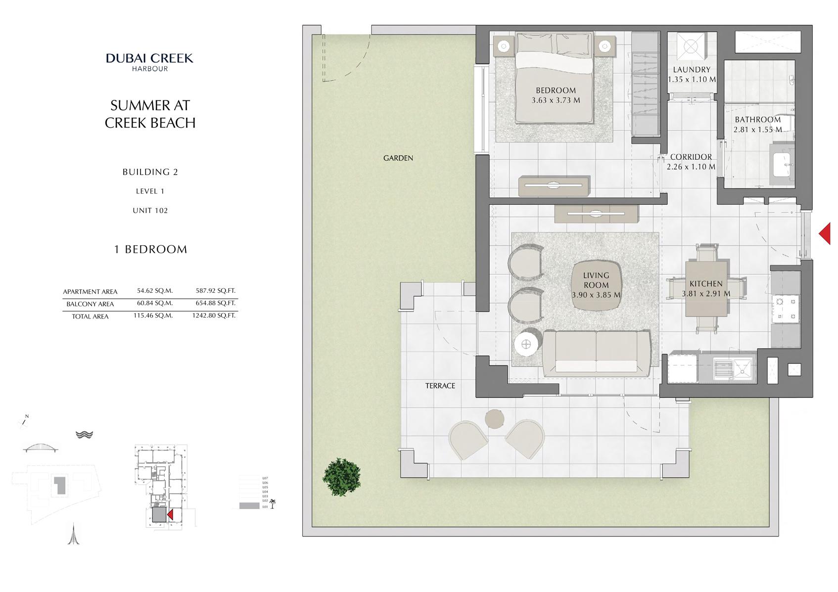 1 Br Building 2 Level 1 Unit 102, Size 1242 Sq Ft